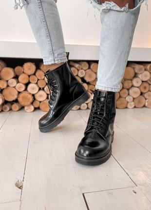 Шикарные женские ботинки dr.martens black черные кожа