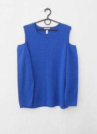 Осенний зимний удлиненный  свитер с длинным рукавом с вырезами...