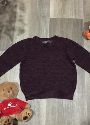 Вязанный хлопковый свитер для стильного мальчика на  12\18 мес...
