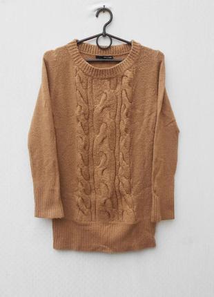 Вязаный осенний зимний свитер с косами с длинным рукавом 🌿
