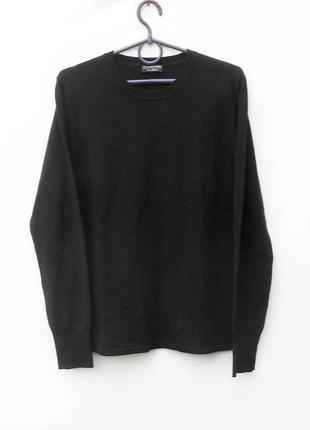 Осенний зимний черный мерино  шерстяной свитер  с длинным рукавом