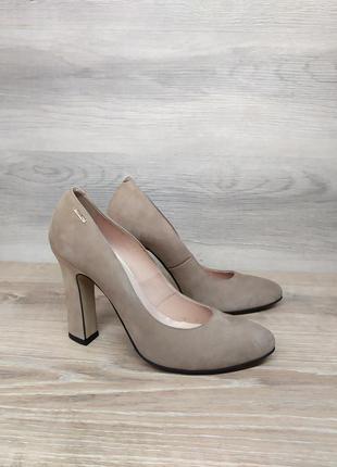 Замшевые туфли на каблуке - натуральная замша model 2270