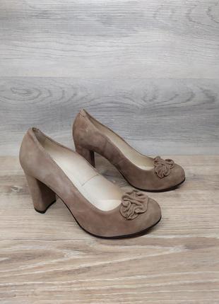 Замшевые туфли на каблуке - натуральная замша model 2272