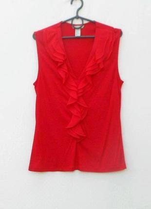 Летняя нарядная  трикотажная блузка без рукавов с рюшей