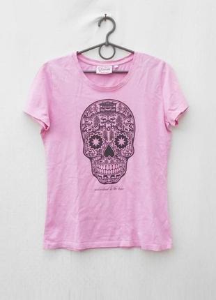 Розовая хлопковая футболка с принтом с черепом