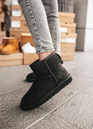Ugg classic mini black женские замшевые зимние угги черного цв...