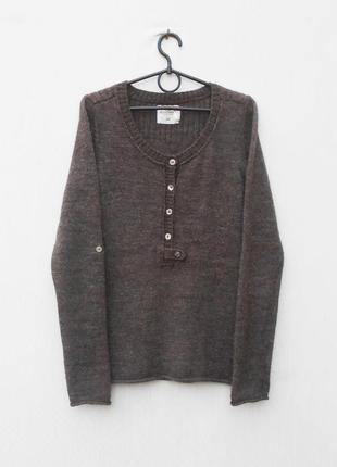 Весенний вязаный свитер с шерстью алпака с длинным рукавом