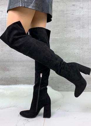 Чёрные замшевые сапоги ботфорты на каблуке,демисезонные высоки...