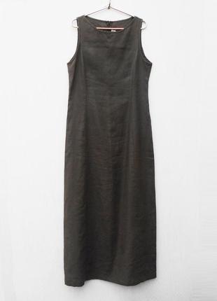 Летнее длинное льняное платье без рукавов 🌿