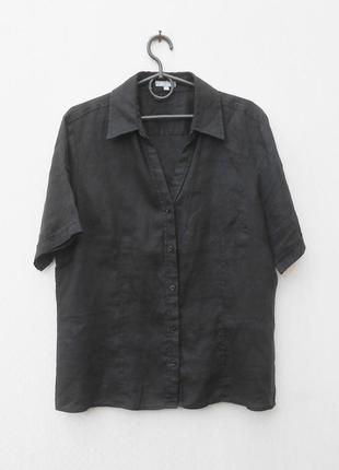 Летняя льняная рубашка с коротким рукавом