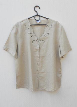 Летняя  блузка хлопок лен  с коротким рукавом с вышивкой
