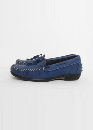 Синие кожаные мокасины туфли балетки freetime (италия)