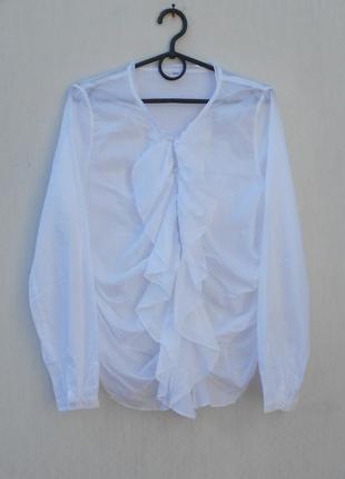 Легкая летняя белая хлопковая  блузка с длинным рукавом