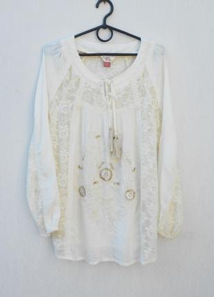 Летняя  блузка вышиванка с кружевом  с длинным рукавом из виск...