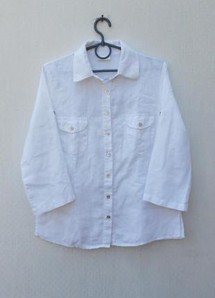 Белая льняная летняя рубашка с рукавом 3/4 с воротником с выши...