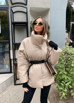 Кожаный пуховик куртка с поясом