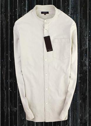 Стреичевая оксфорд рубашка с воротником стойка