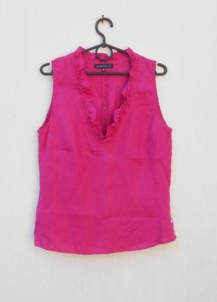 Летняя льняная блузка без рукавов