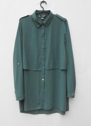 Летняя удлиненная шифоновая блузка рубашка с длинным рукавом 🌿