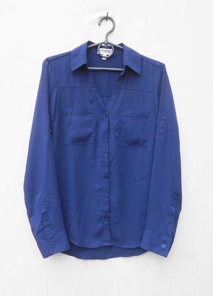 Летняя шифоновая блузка рубашка с воротником с длинным рукавом