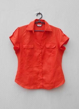Льняная блузка рубашка с воротником с коротким рукавом