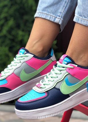 Яркие и модные Nike Air Force 1 Shadow (серые с салатово/розовым)