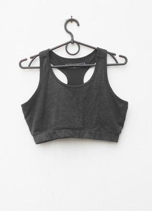 Спортивный серый  трикотажный топ женская спортивная одежда
