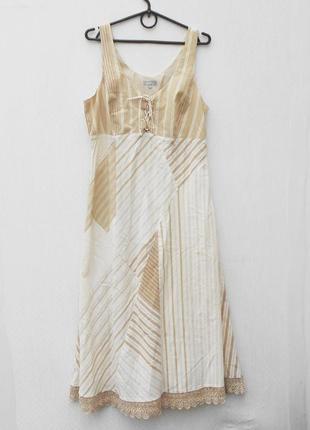 Летнее хлопковое платье  сарафан миди с кружевом
