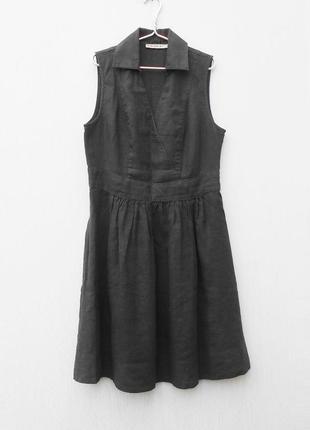 Летнее льняное платье без рукавов с воротником 🌿
