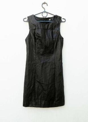 Черное кожаное приталенное платье на молнии 🌿