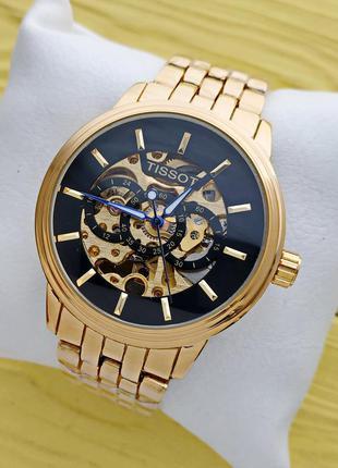 Мужские механические часы скелетоны Tissot, золотые ...