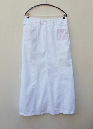 Летняя белая льняная длинная юбка