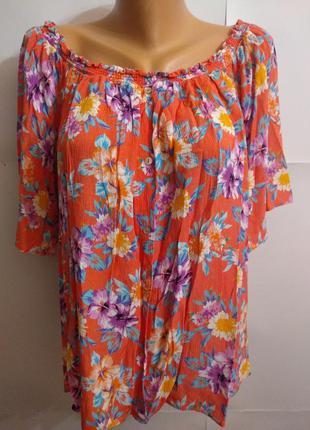 Натуральная блуза цветочный принт спущены плечи 22/56-58 размера