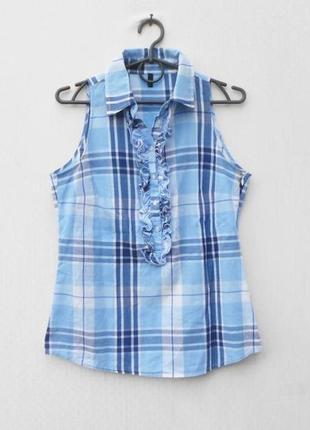 Летняя хлопковая блузка без рукавов с рюшами в клетку  🌿