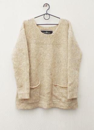 Осенний зимний бежевый вязаный мохеровый свитер оверсайз с дли...
