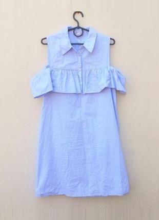 Летнее свободное хлопковое платье в полоску с открытыми плечам...