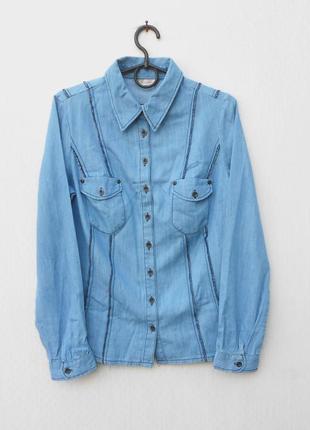 Джинсовая хлопковая приталенная рубашка с воротником с длинным...