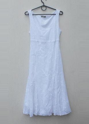 Белое летнее хлопковое вышитое платье сарафан 🌿