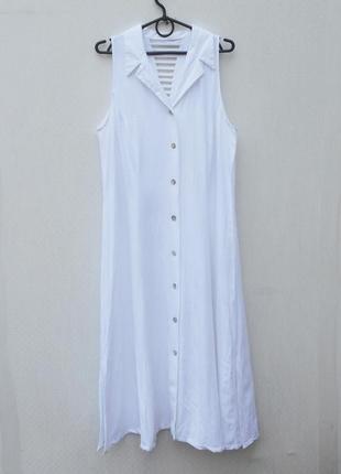 Белое летнее платье рубашка вискоза лен