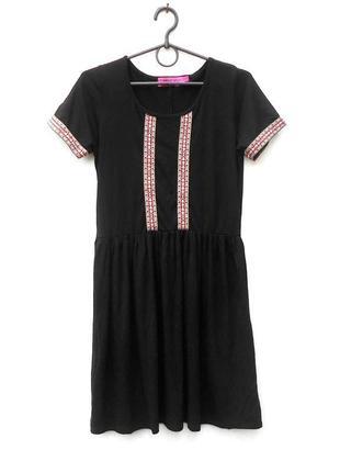 Летнее черное трикотажное платье из вискозы 🌿