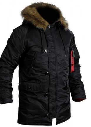 Куртка зимняя Аляска Slim Fit N-3B Black Тактическая