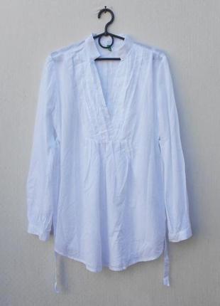Белая летняя легкая хлопковая блузка с длинным рукавом 🌿