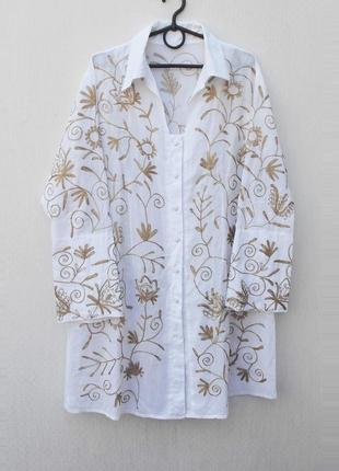 Летнее хлопковое вышитое платье рубашка с длинным рукавом 🌿