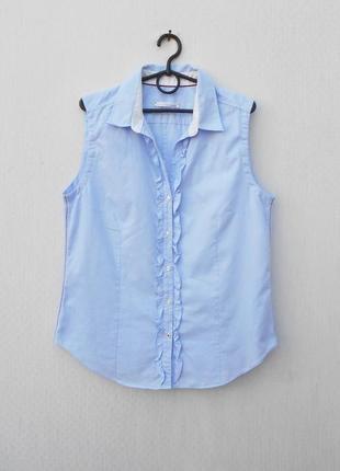 Хлопковая классическая блузка с воротником без рукавов с рюшами