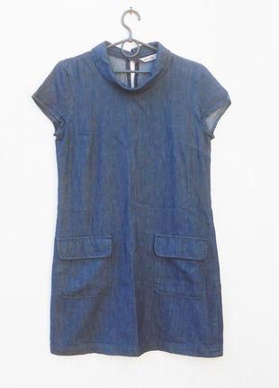 Джинсовое летнее платье с коротким рукавом