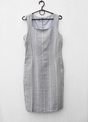 Льняное летнее классическое платье миди в полоску без рукавов ...