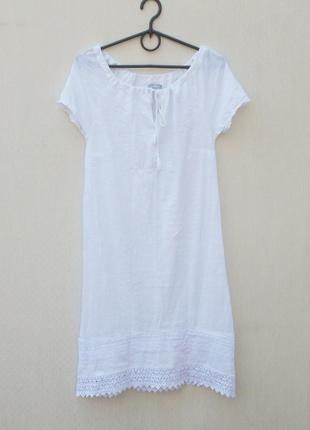 Белое летнее хлопковое платье с кружевом 🌿