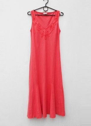 Летнее платье миди с вышивкой без рукавов лен вискоза