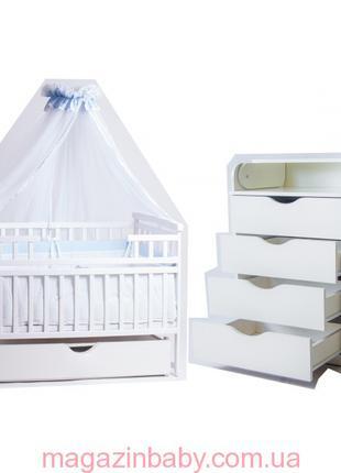 Новое! Комплект: комод + кроватка. В подарок: матрас кокос, посте