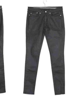 Крутые джинсы скинни чёрные эффект кожа,стрейч pepe jeans, lon...